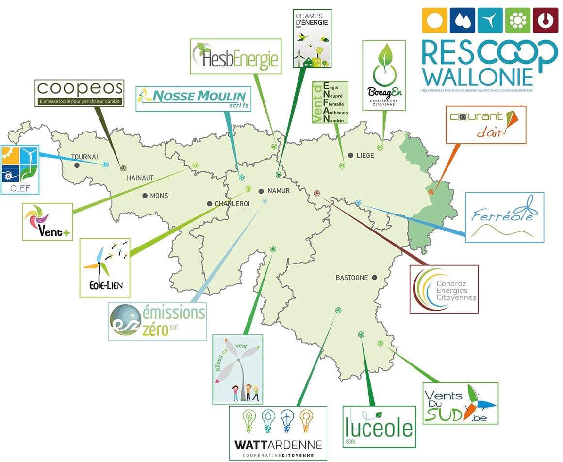 Carte des coopératives en Wallonie