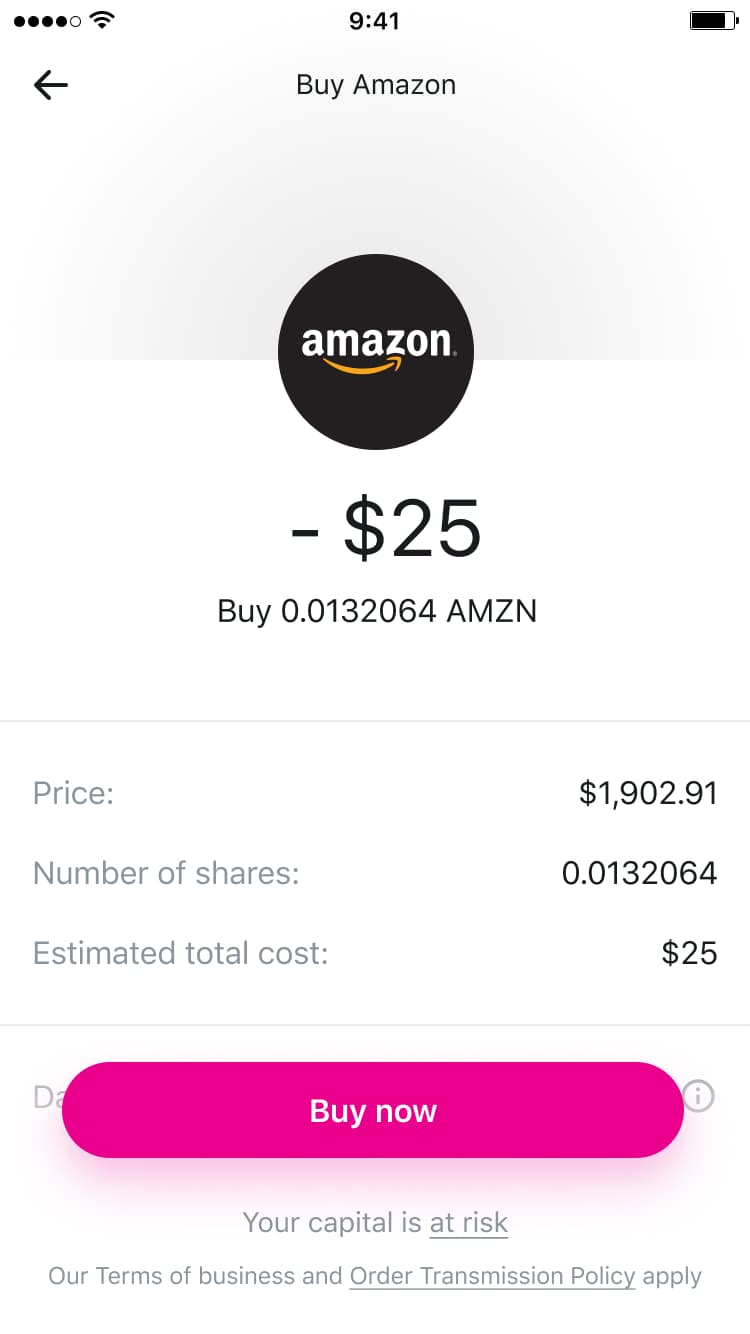 Exemple d'achat d'une fraction d'action Amazon