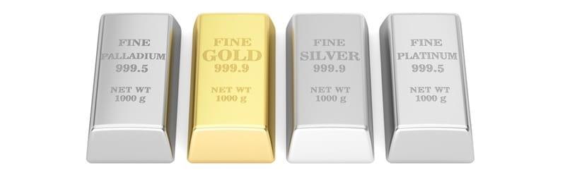 Lingot d'or, d'argent, de platine et de palladium