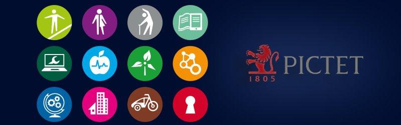 Icones de mégatendances et logo de Pictet Asset Management