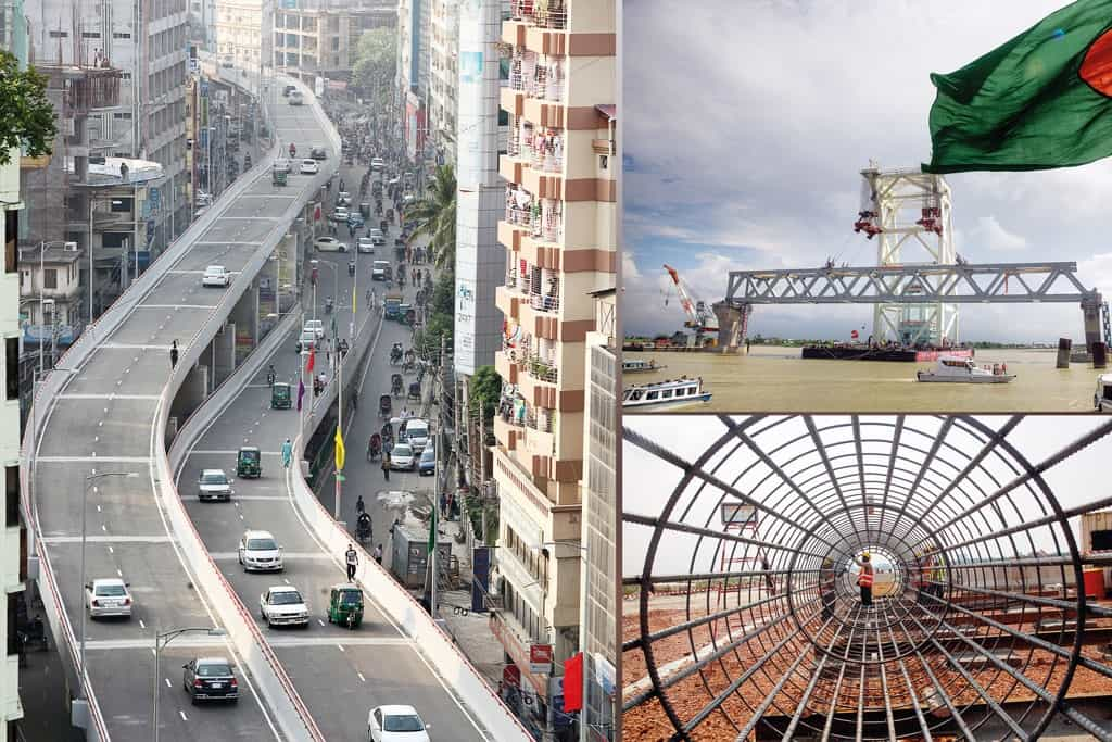 Infrastructures au Bangladesh, un pays du groupe Next Eleven (N-11) : une autoroute, un port et un chantier de bâtiment