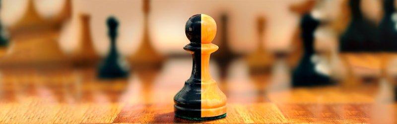 Pièce d'échec à deux couleurs, fusion de deux parties comme le sont les etf actifs