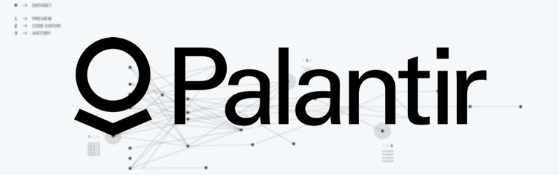 Logo Palantir Technologies sur fond techno-data