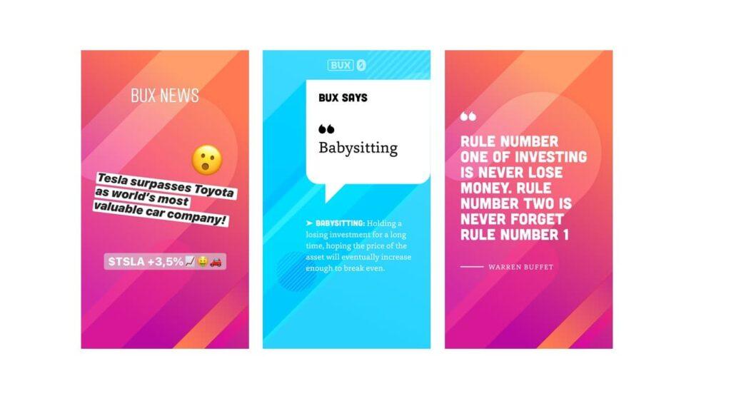 Exemples de BUX Stories