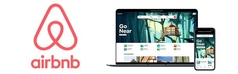 """Logo Airbnb et visuel de la campagne Novembre 2020 """"Go Near"""" pour le confinement COVID-19"""