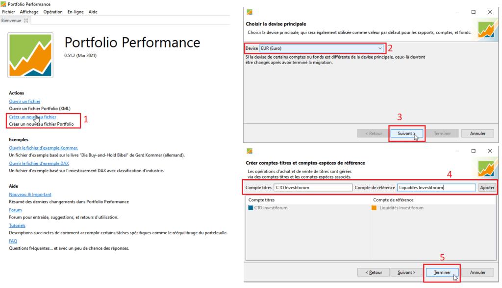 Créer un nouveau portefeuille sur Portfolio Performance